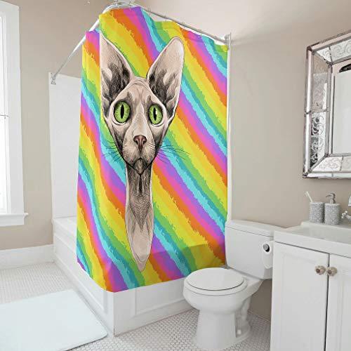 Gamoii Katze Tier Sphynx Duschvorhang Bad Vorhang Mode Badewanne Gardinen Waschbar Shower Curtain mit Duschvorhangringen White 150x200cm