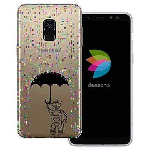 dessana Androiden Sci Fi transparante beschermhoes mobiele telefoon case cover tas voor Samsung Galaxy A J, Samsung Galaxy A8 (2018), Robot Cijfers regen