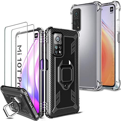 Milomdoi [4 Articulos] 2 Funda +2 Packs Cristal Templado para Xiaomi Mi 10T/Mi 10T Pro 5G, [2 Style Case][Grado Militar Anti-Caída] Soporte Giratorio de 360°Grados con Anillo Dedo TPU Silicona