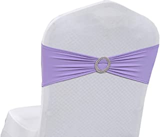 VDS - 25 PCS Spandex Chair Sashes Bow for Wedding and Events Decoration Elastic Chair Bands Ties with Buckle Lycra Slider sash - Lavender