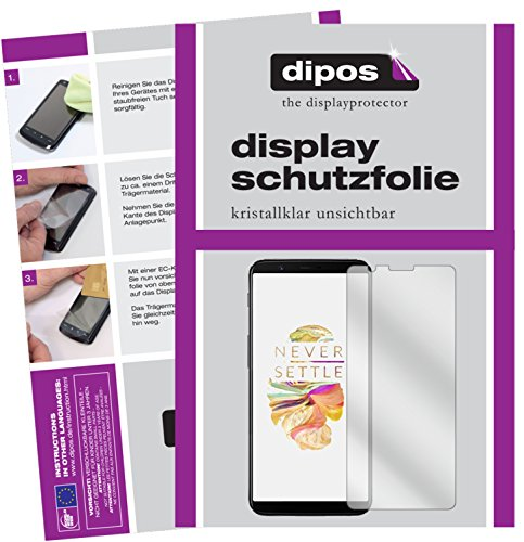 dipos I 2X Schutzfolie klar kompatibel mit OnePlus 5T Folie Bildschirmschutzfolie