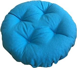 Cojín redondo para asiento de exterior, para interior y exterior, suave, cojín de piedra gruesa, antideslizante, con funda elástica (azul claro, 40 x 40 x 7 cm)