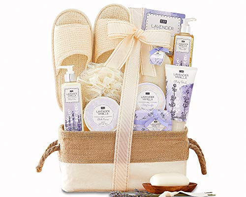 Spa Gift Basket For Women - A Day Off Spa Gift For Her Men Lavender Vanilla Scented Spa Gift Baskets Bath & Body Gift Set Lovely Lined Basket Slippers and more by Wine Country Gift Baskets