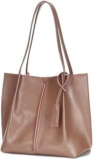 Wo Single Shoulder Portable Large Capacity Ladies Leather Handbag Handbag Female Bag Handbags (Color : Grey)