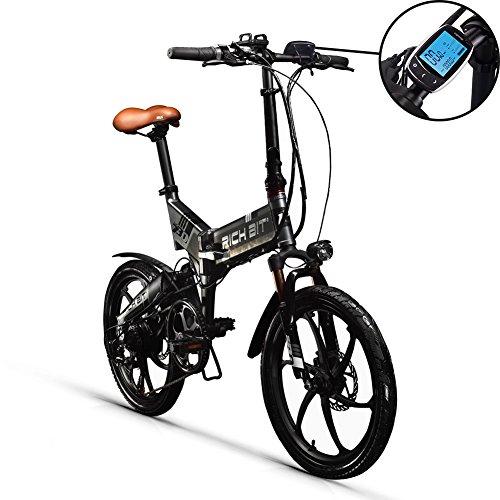 GUOWEI Rich Bit RT-730 Batteria al Litio 48V 8Ah Popolare Bicicletta elettrica Pieghevole a Sospensione Completa Nuovo Schermo LCD Intelligente (Black-Gray)