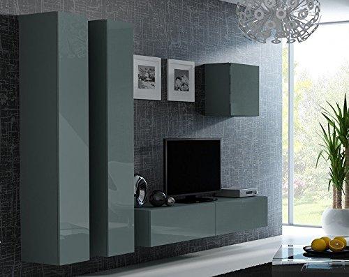 Jadella Wohnwand \' Vigo 24(2)\' Hochglanz Hängeschrank Lowboard Cube, Farbe:Grau