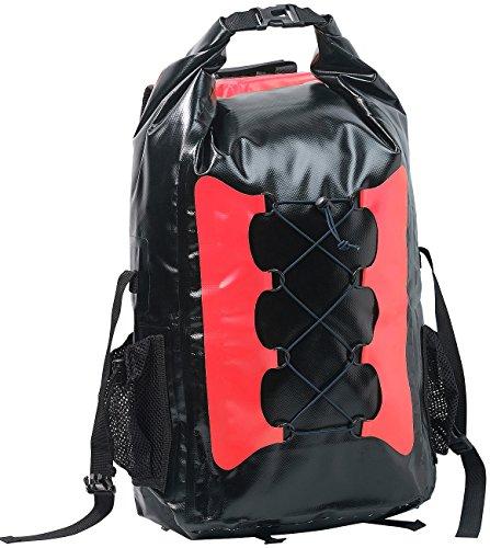 Sac à dos trekking étanche en toile de bâche 30 L - coloris rouge / noir