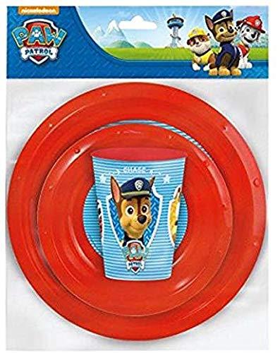 Juego de vajilla de plástico para niños, diseño de Paw Patrol, Chase,