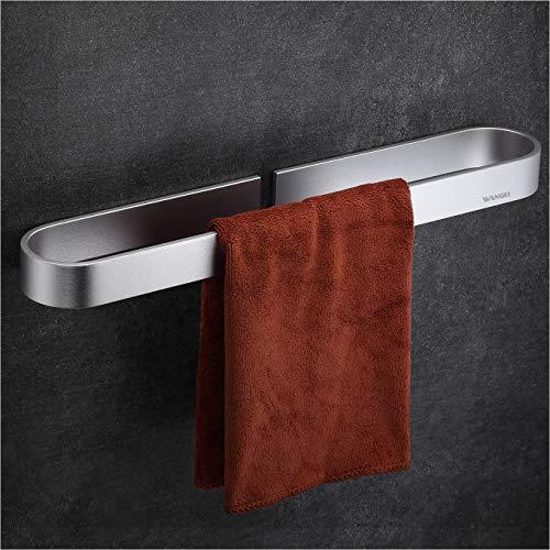 Wangel Toallero Barra Fijar Sin Taladro, Porta Toallas Baño 40cm, Pegamento Patentado + Autoadhesivo, Aluminio, Acabado Mate, Plateado