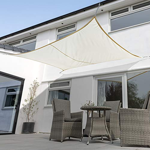 Kookaburra Waterproof Garden Sun Shade Sail Canopy in Ivory 98% UV Block...
