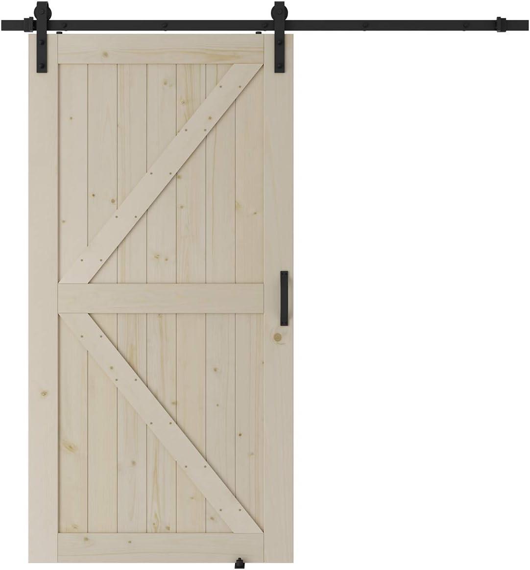 SMARTSTANDARD 42in x 84in Sliding Barn Door with 7ft Barn Door Hardware Kit /& Handle K-Frame Natural DIY Unfinished Solid Spruce Wood Panelled Slab Pre-Drilled Ready to Assemble