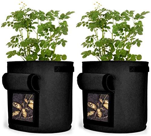CYFIE 2er 40L Pflanzenwachstumstaschen, 10 Gallons Pflanzbeutel aus Vliesstoff, Kartoffel Pflanzbeutel mit Griffe für Kartoffeln Süßkartoffeln Erdnüsse, Schwarz