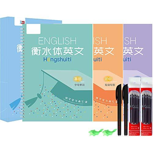 HZW 2 Piezas Cuaderno de caligrafía Groove Reutilizable con Pluma de Entrenamiento Letra Inglesa y caligrafía de oración Corta Libro de Escritura a Mano para niños Niños Adultos en el hogar