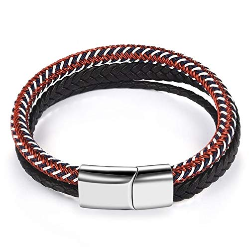JIANYUXIN Armband Herrenschmuck Lederarmband Edelstahl Magnetschnalle Handgestricktes Armband Herrenarmband