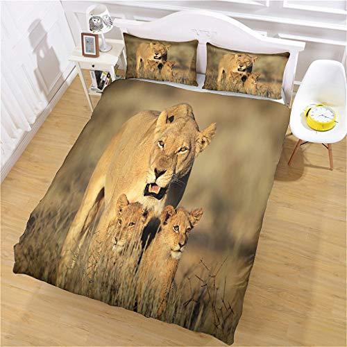 AOJHG Duvet Cover Set King 230X220Cm Bedding Set With 2 Pillowcases 50X75Cm African Savannah Lion Duvet Cover With Zipper Closure Anti-Allergic Soft Microfiber Quilt Cover