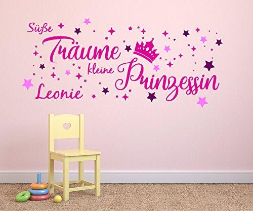 tjapalo® p-pkm346+24s-name1 Wandtattoo Kinderzimmer mit Namen Süße Träume kleine Prinzessin (B120 x H49 cm)