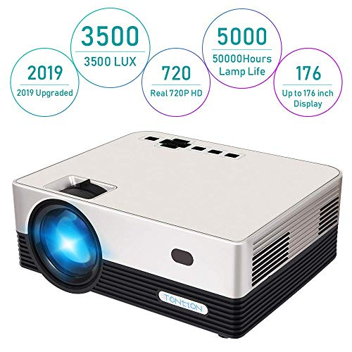 HD Projector, Tontion 3500 Lux Video Projector Native 720P Mini Projector,and 179'' Display,50,000 Hour LED, Portable Projector Compatible with TV Stick, PS4,HDMI, VGA, USB, AV, TF, DVD Player