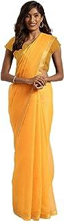 Indian Poly Cotton Traditional Saree Women's Formal Sheer Golden Border sari Blouse 6291