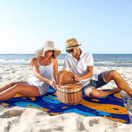 Portable Large Picnic & Outdoor Blanket Blue Yellow Tai Chi Water-Resistant Handy Mat Tote Spring Summer Great for Beach and Camping on Grass, Waterproof Sandproof 57x59 in