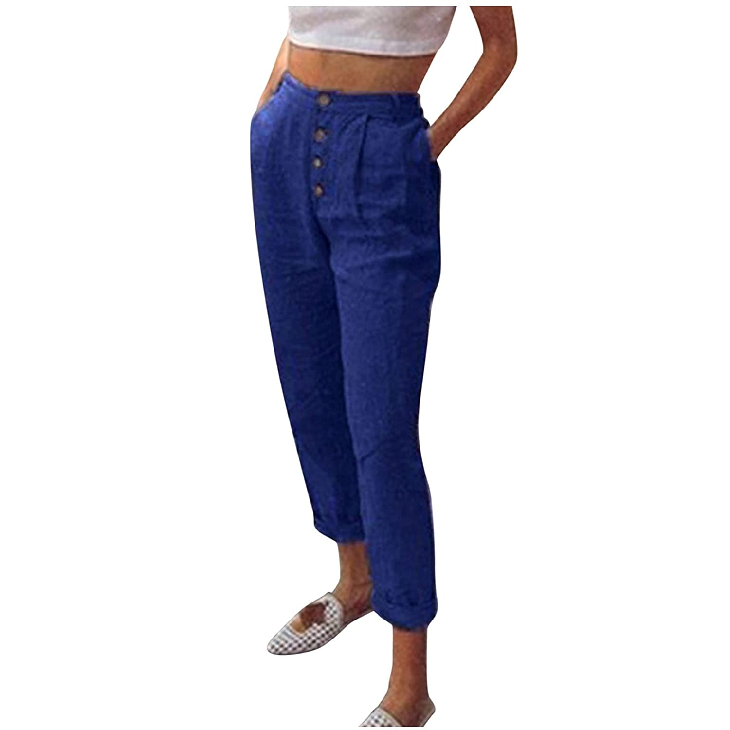 SANYEE Women's Cropped Paper Bag Waist Pants Paper Bag Pants High Waist with Pockets Tie Casual Cropped Trousers