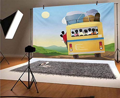 Cartoon 10x8 FT Vinyl Photography Background Backdrops,Yellow Bus Full of Passengers and Luggage Driving in Meadows Warm Spring Day Background for Graduation Prom Dance Decor Photo Booth Studio Prop B