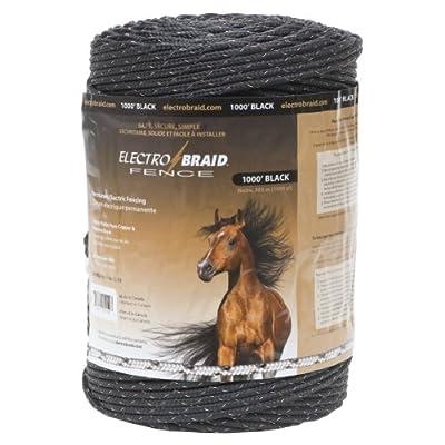 ElectroBraid PBRC1000B2-EB Horse Fence Conductor Reel, 1000-Feet,Black