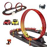 Hging RC Track Car, Set de pista de carreras de automóviles, tragamonedas eléctrica Set de pista de carreras de automóviles Juguete para niños con 4 automóviles operados con baterías, 2 controladores,