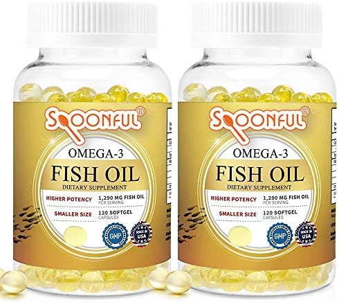 Spoonful Omega 3 Mini Fish Oil, 1290 mg Per Serving, 120 Softgels Burpless Pearls, Easy to Swallow Capsules for Women and Seniors, Made in USA
