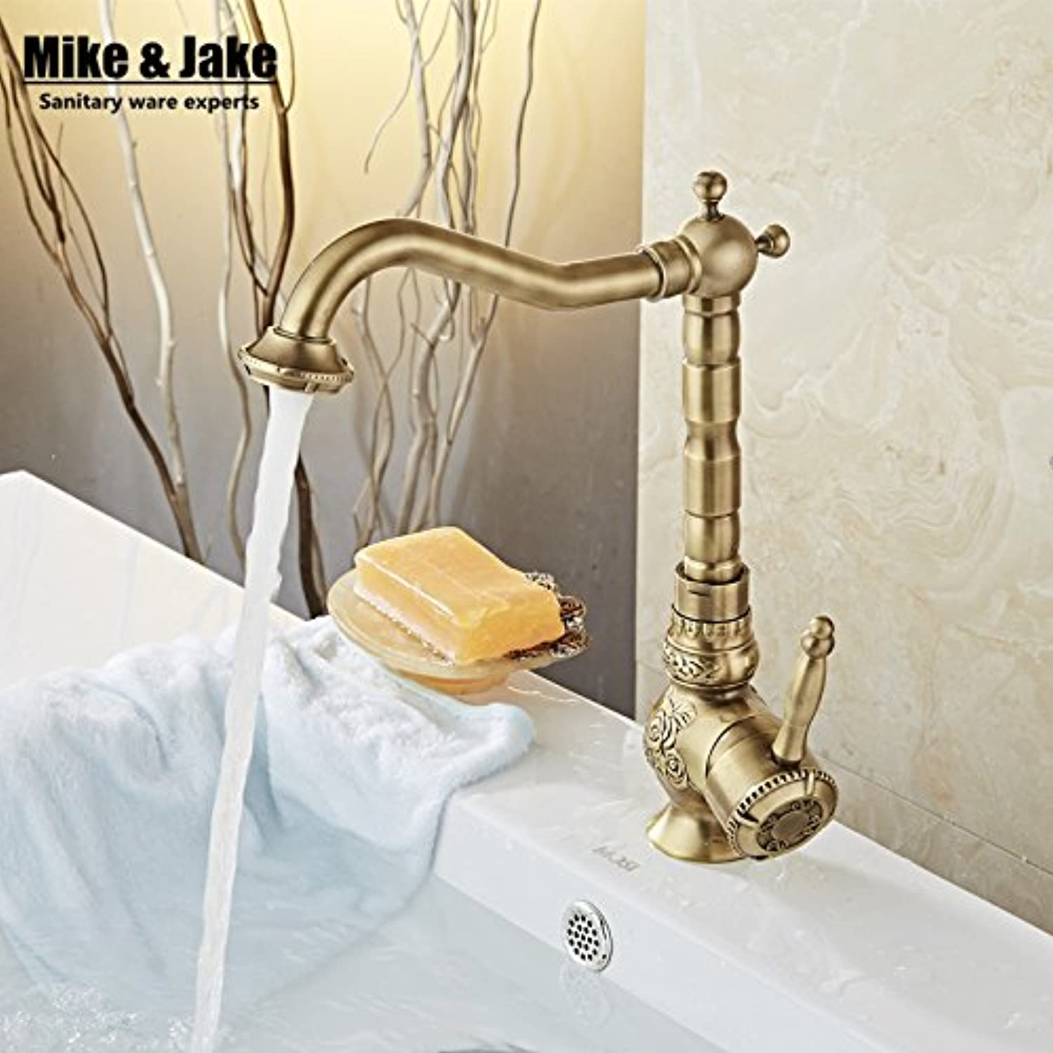 Maifeini W V Single Lever Bathroom Antique Brass Tap Basin Crane Click Antique Bronze And Hot And Cold Tap Water Home Mixers, High-Size
