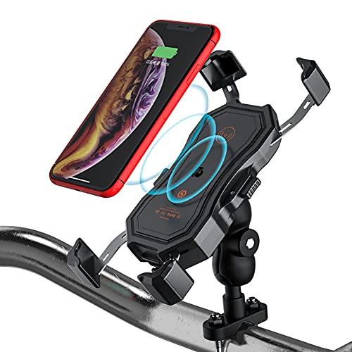 Soporte para teléfono de motocicleta, 3.0 USB de metal para cargador de motocicleta 10 W de carga rápida para teléfonos inteligentes de 4.7 a 6.5 pulgadas