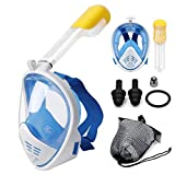 Jukkre Kids Snorkel Mask, Full Face Soft Anti-Fog Diving Gear for Underwater Sports Diving Swimming (Multi)