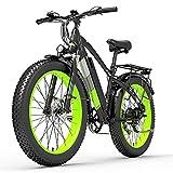 XC4000 1000W 48V Bicicleta eléctrica, Bicicleta de Nieve de 26 Pulgadas Bicicleta de neumático Grueso, Freno de Disco hidráulico Delantero y Trasero (Black Green, 15Ah)