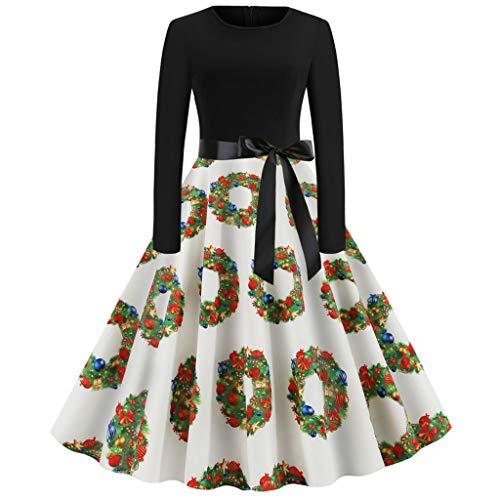 Cramberdy Damen Kleider Weihnachten Print Mini Cocktailkleid Frauen Verein Partykleid,Blusenkleider Ballkleid Festkleid Frauen Langarm Wickelkleider Abendkleider Ballkleid A-Linie Kleider