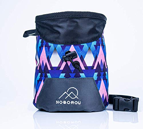 Noborou Chalk Bag for Rock Climbing + Crossfit + Weightlifting | Bouldering Chalk Bag | Wide Opening | Large Zippered Pocket | Adjustable and Removable Belt (Moonrise Blue)