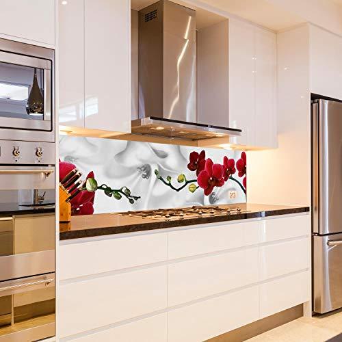 wandmotiv24 Küchenrückwand Kirschblüte Rot Weiß Pflanze Hintergrund 180 x 50cm (B x H) - Acrylglas 4mm Nischenrückwand, Spritzschutz, Fliesenspiegel-Ersatz, Deko Küche M1148