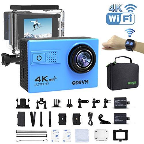Action Cam 4K WiFi 1080P 60FPS, 20 MP Unterwasserkamera, 2.4G Fernbedienung und 2 Akkus für Extremsport, Schwimmen, Fahrrad, Motorrad, Surfen, Tauchen und andere Outdoor-Sportaktivitäten