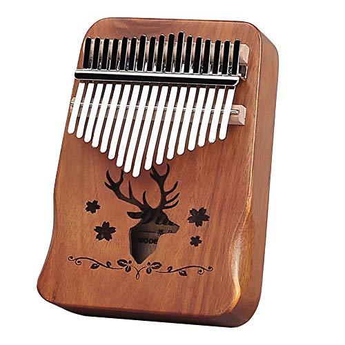 XUBX Kalimba 17 Teclas, Piano de pulgar con instrucciones de estudio y martillo de afinación, Marimbas piano de dedo de madera africano portátil para niños y adultos principiantes (Marrón claro)