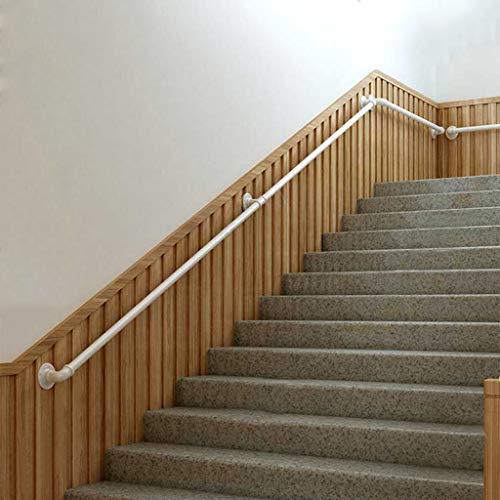 Barandilla Blanca - Kit Completo. Diseño tubería de Agua Hierro Forjado Pasamanos, Kit de Soporte barandilla de Escalera para Interiores Exteriores, Barandilla de Cubierta(Size:200cm)