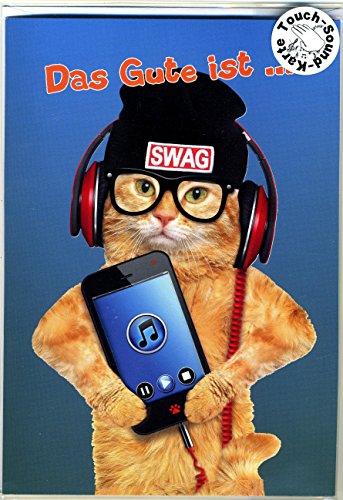 Touch Grußkarte Katzen DJ mit Handy, Geburtstagskarte mit Musik auf Berührung - Display