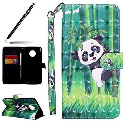 Uposao Kompatibel mit Handyhülle Motorola Moto G6 Plus Ledertasche Tasche Etui Dünn Leder Schutzhülle Flip Case Klappbar Handyhülle Bookstyle Handy Cover Karteneinschub und Magnetverschluß,Panda Baum
