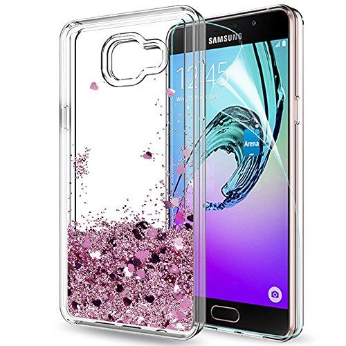 LeYi Funda Samsung Galaxy A5 2016 Silicona Purpurina Carcasa con HD Protectores de Pantalla,Transparente Cristal Bumper Telefono Gel TPU Fundas Case Cover Para Movil Samsung A5 2016 (A510) ZX Oro Rosa