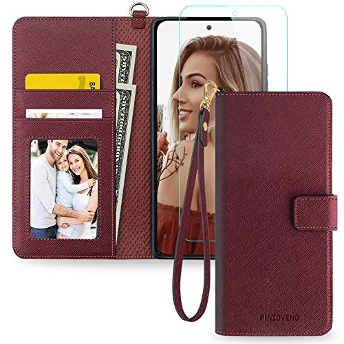 Pinzoveno Samsung A71 5G Case for Women, Flip Wallet Phone Cover with Card Holder Wrist Strap and Screen Protector Kickstand PU Leather Folio Funda Cases for Galaxy A71 5G - Wine Red