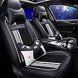 Muchkey - Fundas para asientos de coche para todas las estaciones, de piel, impermeables, para Renault Fluence Megane, con reposacabezas, cojines cervicales y respaldos, estilo B, color blanco y negro