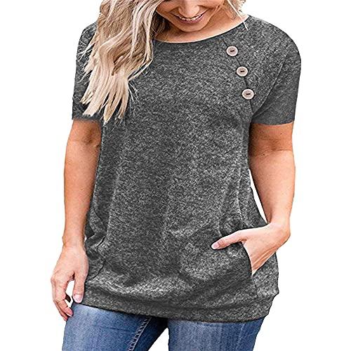 Camiseta de Mujer Casual Manga Corta Camisetas básicas de Color Liso Túnica Plisada elástica con Botones Tops de Verano Camisa de Verano con Cuello en V y Botones Top con Escote Suave