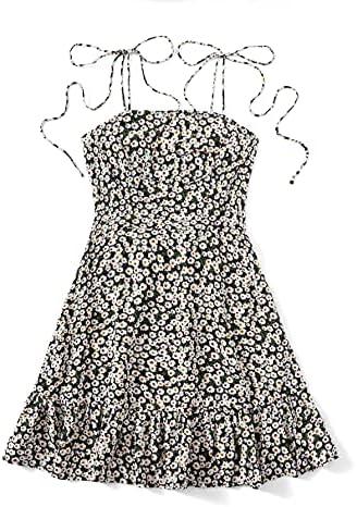 Women's Summer Sleeveless Floral Ruffle Strappy Beach Swing Dress