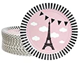 Disposable Plates - 80-Count Paper Plates, Paris or French Theme Party Supplies for Appetizer, Lunch, Dinner, and Dessert, Birthdays, Bridal Showers, Eiffel Tower Design, 9 Inches in Diameter