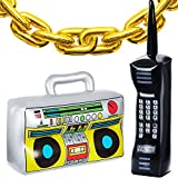22 Pieces Inflatable Radio Boombox Inflatable Mobile Phone and 16 Inch Gold Inflatable Foil Chain Balloons 80s 90s Party Decorations Supplies Cosplay Props Hip Hop Theme Birthdays Weddings Graduations