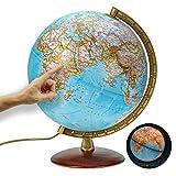 National Geographic - Leuchtglobus im klassischen Stil - 30cm Globus mit stabilem Standfuß und Metall Meridian, Kartenbild 2020 physikalisch / politisch mit LED Leuchte, aktuelles deutsches Kartenbild