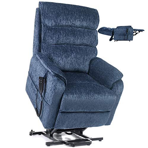 Jacky Home Lift Recliner Dual Motor Lay Flat Electric Power Chair for Elderly, Infinite Position Chenille Heavy Duty Living Room Sturdy Sofa with Side Pocket (Blue)