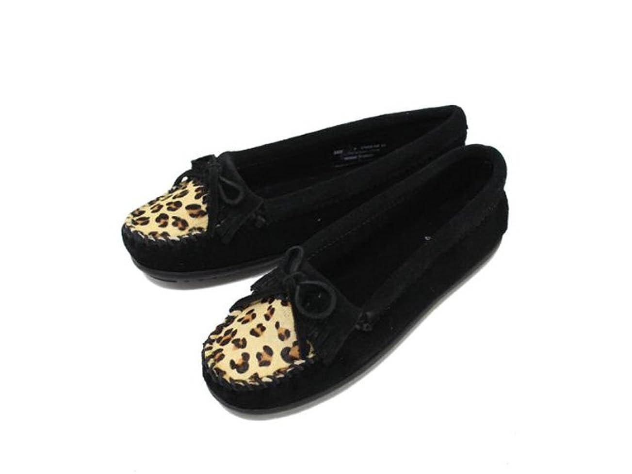 高齢者入手します敏感な[ミネトンカ] Leopard Kilty Moc(レパード キルティ モック)#349F BLACK レディース MT099